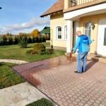 Гидрофобизация тротуарной плитки в домовладении на Волхонском шоссе при помощи пульверизатора